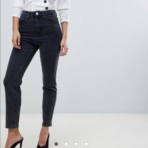 Asos Faded Black Mom Skinny High Waisted Jeans 🌿